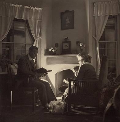 Family Reads At The Fireside. 1935 Art Print by Everett