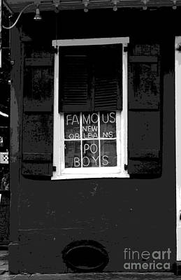Digital Art - Famous New Orleans Po Boys Neon Window Sign Black And White Cutout Digital Art by Shawn O'Brien