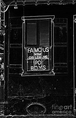 Digital Art - Famous New Orleans Po Boys Neon Window Sign Black And White Glowing Edges Digital Art by Shawn O'Brien