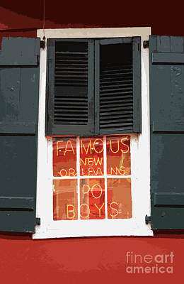 Digital Art - Famous New Orleans Po Boys Red Neon Window Sign Cutout Digital Art by Shawn O'Brien