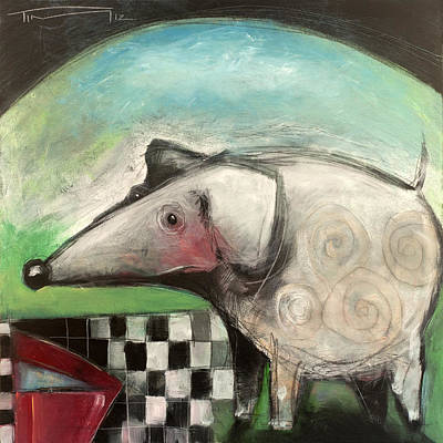 Painting - Fancy Dog At Picnic With Water Dish by Tim Nyberg