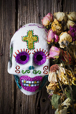 Smile Face Photograph - Fancy Skull And Dead Flowers by Garry Gay