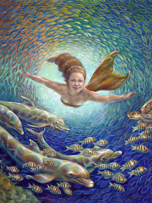 Painting - Fantastic Journey II - Mermaid by Nancy Tilles