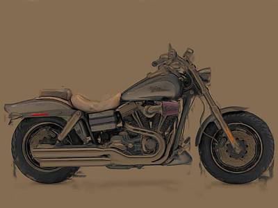 Harley Davidson Art Painting - Fantasy Army Fat Bob by Wayne Bonney