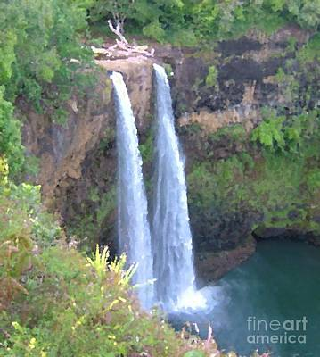 Photograph - Fantasy Island Waterfall In Kauaii by Terri Thompson