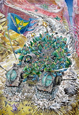 Fantasy Tank Running Wild Art Print by Fabrizio Cassetta