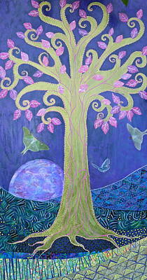Luna Mixed Media - Fantasy Tree On Full Blue Moon by Teresa Grace Mock