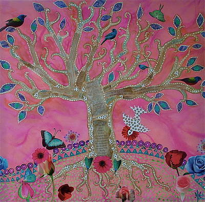 Luna Mixed Media - Fantasy Tree On Pink by Teresa Grace Mock