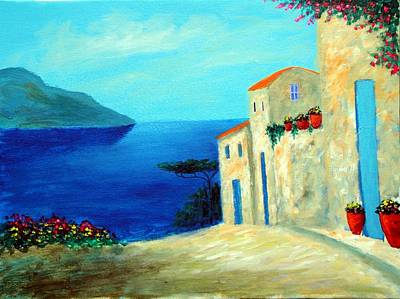 Art Print featuring the painting Fantisy By The Sea by Larry Cirigliano