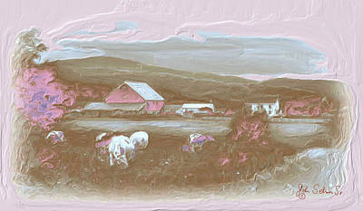 Farm   In Pink Art Print by John Selmer Sr