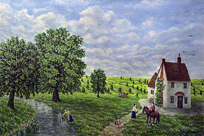 Horse And Cart Painting - Farm By The Stream - Lake District by Ronald Haber