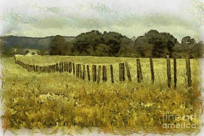 Digital Art - Farm Fence 1 by Fran Woods