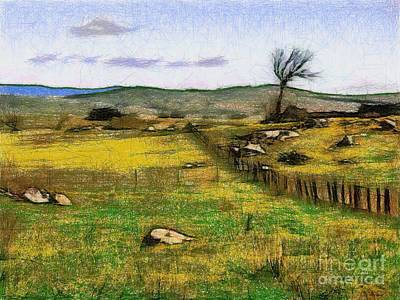 Digital Art - Farm Fence 5 by Fran Woods