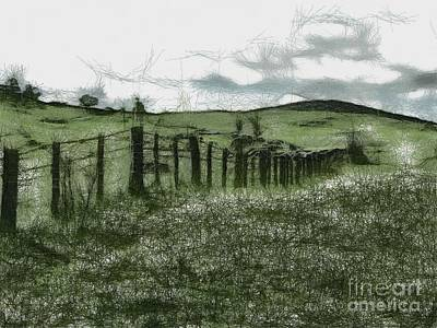 Digital Art - Farm Fence 6 by Fran Woods