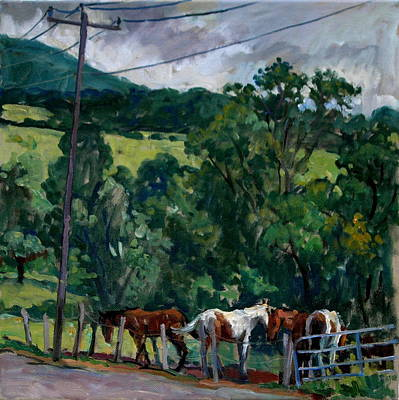 Abstract Realist Landscape Painting - Farm Horses Berkshires by Thor Wickstrom