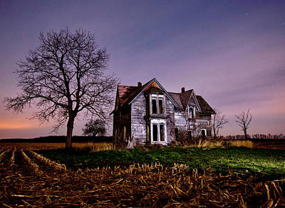Farm Scene Photograph - Farm House At Night by Cale Best