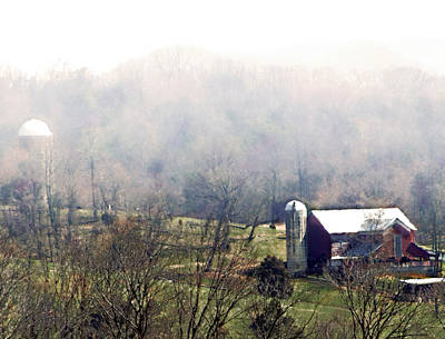 Farm In The Valley Print by Kathy Jennings