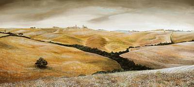 Farm On Hill - Tuscany Art Print by Trevor Neal