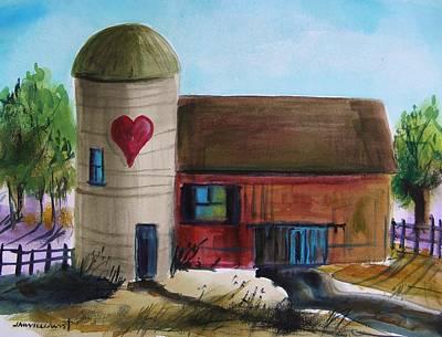Blue Barn Doors Drawing - Farm With A Heart by John Williams
