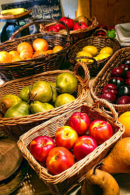 Produce Stands Photograph - Farmer's Market Fruit Stand With Wicker Baskets by Olivier Le Queinec