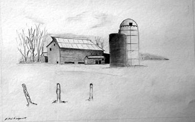 Drawing - Farmhouse by Michael Ringwalt