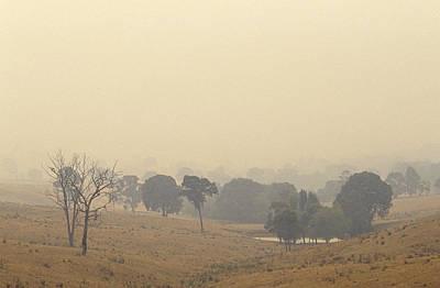Bushfire Photograph - Farmland Shrouded In The Haze Of Summer by Jason Edwards
