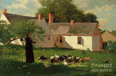 Cockerel Painting - Farmyard Scene by Winslow Homer