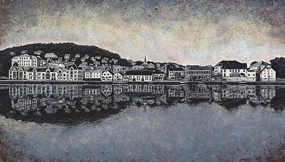 Farsund Drawing - Farsund Waterfront by Janet King