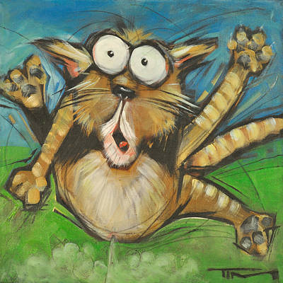 Painting - Farting Feline by Tim Nyberg