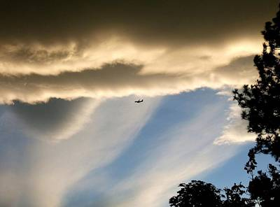 Fascinating Clouds And A 737 Art Print by Will Borden