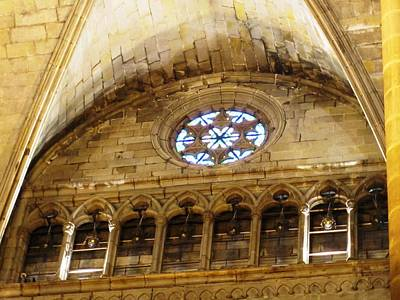 Photograph - Fascinating Historic Cathedral Building Architecture And Interior Window Design In Barcelona Spain by John Shiron