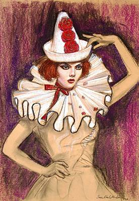 Print featuring the drawing Fashion Clown by Sue Halstenberg