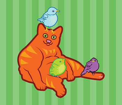 Fat Cat And Birds Art Print
