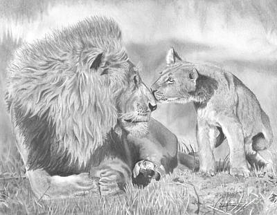 Drawing - Father And Cub by Christian Conner