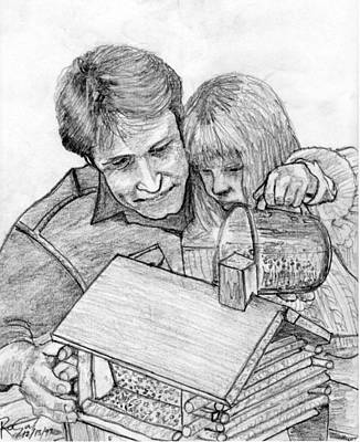 Eyelash Drawing - Father And Daughter Pencil Portrait by Romy Galicia