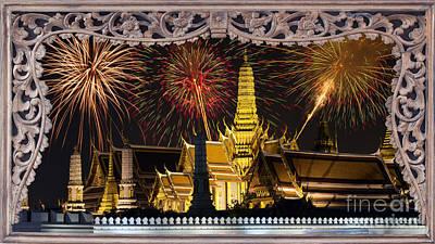 Pyrotechnics Digital Art - Father Celebrate In Wat Phra Kaew  by Anek Suwannaphoom