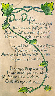 Photograph - Fathers Day Card, 1912 by Granger