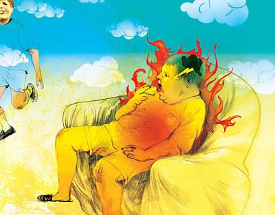 Couch Potato Digital Art - Fattiness On Fire by Maya Shleifer