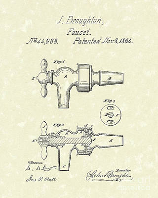 Faucet 1864 Patent Art Print by Prior Art Design