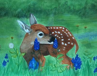 Whitetail Fawn Painting - Fawn And Bluebonnets by Becky Yates