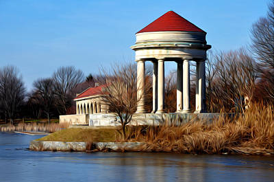Franklin Digital Art - Fdr Park Gazebo And Boathouse by Bill Cannon