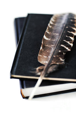 Hardcover Photograph - Feather And Books by HD Connelly