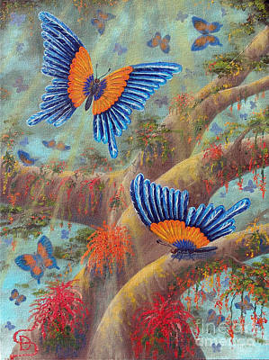 Print featuring the painting Feather Butterflies From Arboregal by Dumitru Sandru