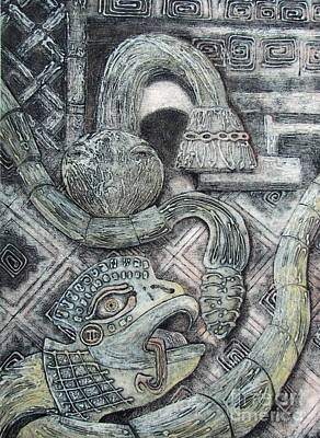 Printmaking Mixed Media - Feathered Serpent 1 by Pamela Iris Harden