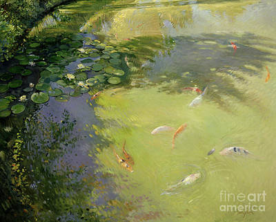 Goldfish Wall Art - Painting - Featherplay by Timothy Easton