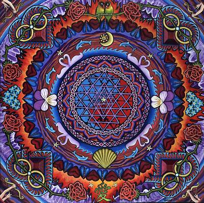 Sri Yantra Painting - February Mandala Or 28 Days...infinite Ways To Say I Love You by Jess-o