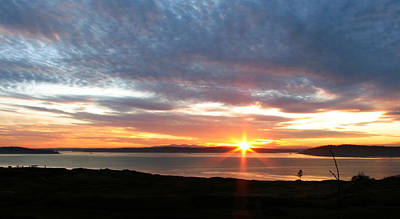 Golf Photograph - February Sunset - Chambers Bay Golf Course by Chris Anderson
