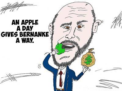 Financial Mixed Media - Fed Chairman Ben Bernanke Editorial Cartoon by OptionsClick BlogArt