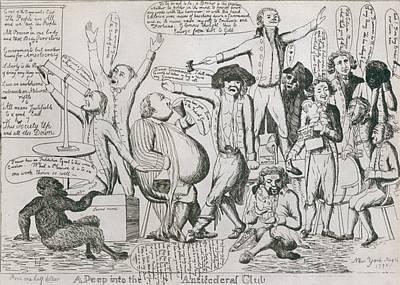 Federalist Cartoon Of 1793 Shows Art Print by Everett