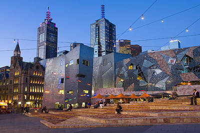 Federation Square At Dusk Art Print by Greg Elms